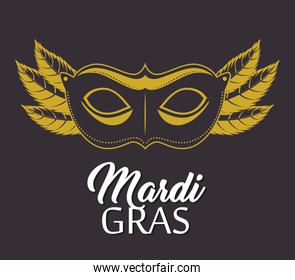 mardi gras lettering poster with mask carnival banner