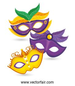 pack of purple and yellow carnival mask mardi gras