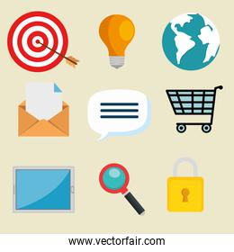 email marketing internet advertising icons