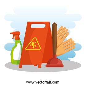 cleaning supplies with caution sign spray gloves