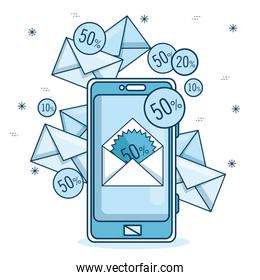 email marketing and promotion email notification on mobile phone