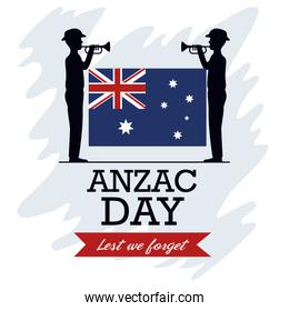 anzac day background with soldiers blowing trumpet