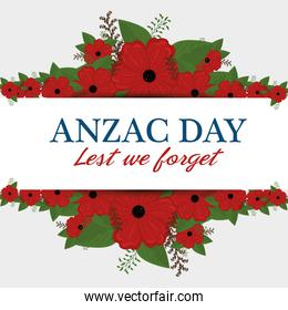 anzac day poster with red poppy flower