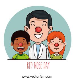 red nose day people with red nose