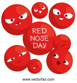 red nose day with red nose clown faces