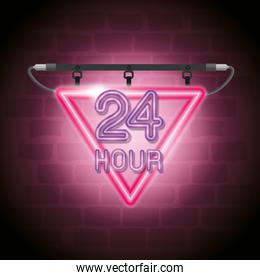 24 hours neon label icon