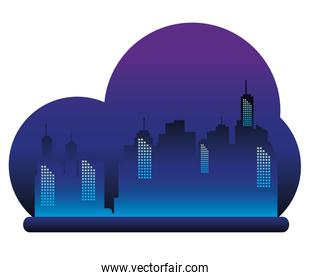 cityscape buildings with neons lights