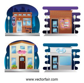 set buildings facades with neon labels