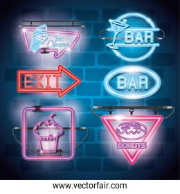 fast food and drinks with neon lights icons