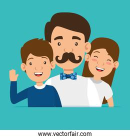 best father with daughter and son avatars