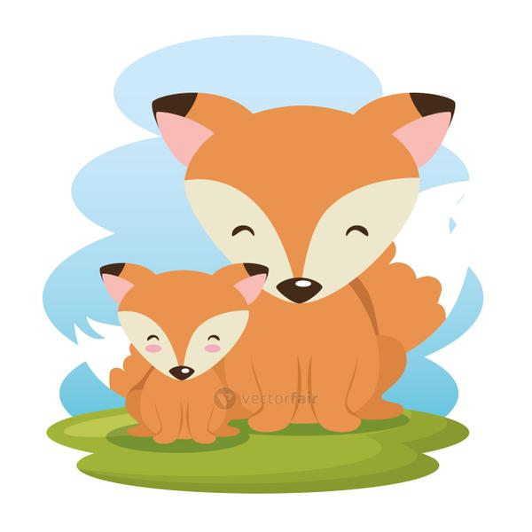 cute foxes father and son characters