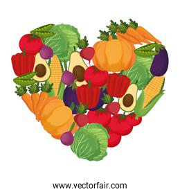 fresh vegetables pattern with heart shape