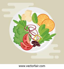 dish with fresh and healthy food salad