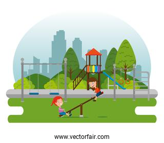park with kid zone scene with kids playing