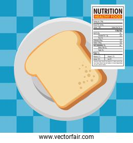 toast bread slice with nutrition facts