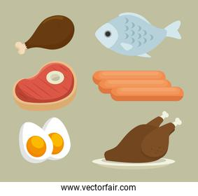 group of nutritive food icons