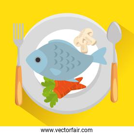 dish with fish and vegetables