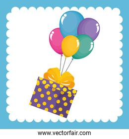 happy birthday celebration card with gifts presents