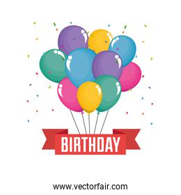 happy birthday celebration card with balloons air