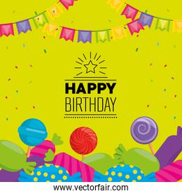 happy birthday celebration card with sweet candies