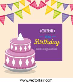 happy birthday celebration card with sweet cake and garlands