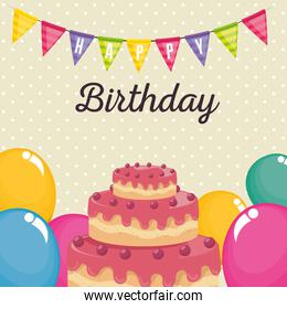 birthday card with sweet cake and balloons air