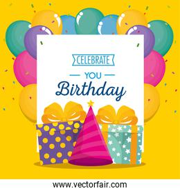 happy birthday celebration card with gifts and balloons air