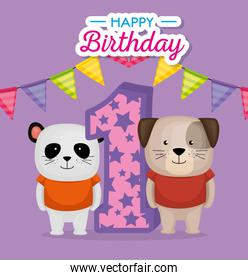 birthday card with candle number