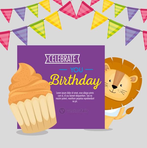 happy birthday card with cupcake and cute lion