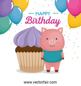 happy birthday card with cupcake and cute piggy