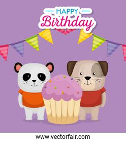 happy birthday card with cupcake and cute animals
