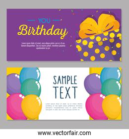 happy birthday card with cupcake and giftbox
