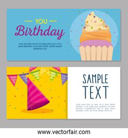 happy birthday card with cupcake and hat party
