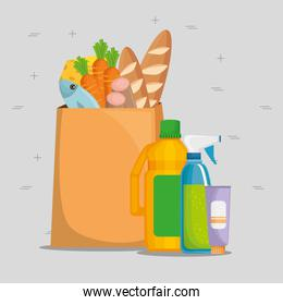 shopping bag with supermarket products