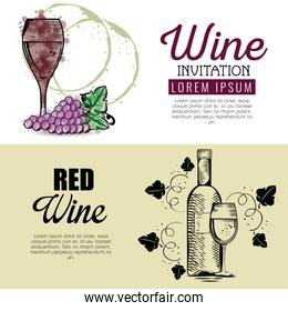red wine set icons