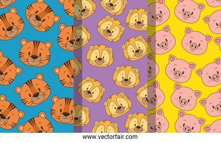 little and cute animals heads patterns backgrounds
