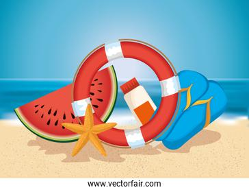 beach with summer holidays icons
