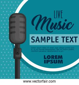 musical concert label with microphone