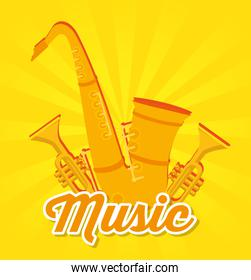 saxophone and trumpets musical instruments label