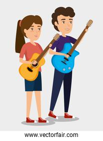 musician couple in concert