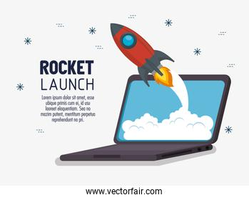 laptop with launcher rocket
