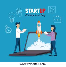 business people with start up set icons