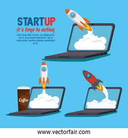 laptop with start up business icons