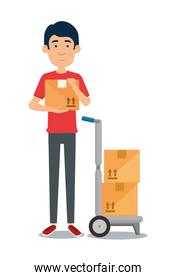delivery worker with cart boxes