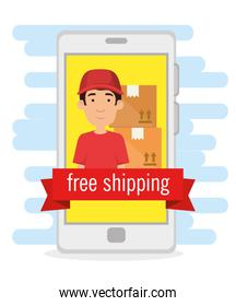 delivery worker in smartphone shipping service