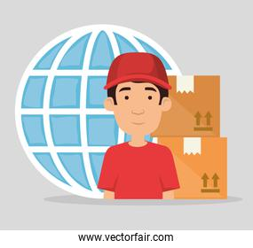 delivery worker with boxes