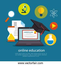 education on line with laptop