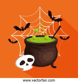 halloween card with cauldron