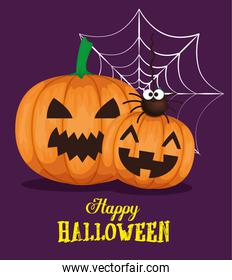 happy halloween card with pumpkins
