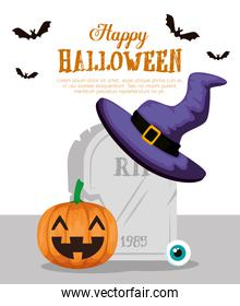 happy halloween card with pumpkinand witch hat